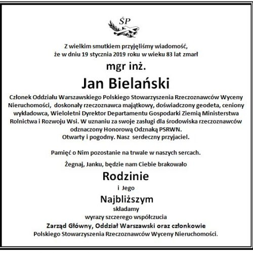 Jan Bielański - nekrolog